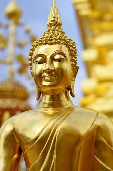 Statue de Bouddha en bronze doré