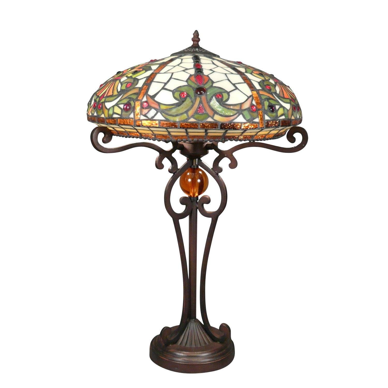 Lampe Tiffany Baroque avec un  pied en fer
