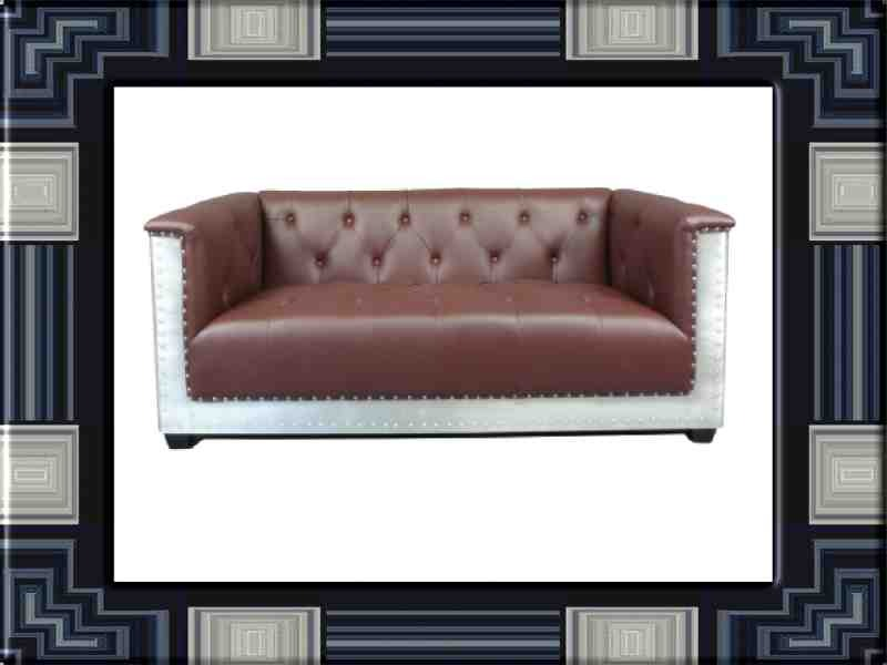 Leather and aluminum aviator-style sofa